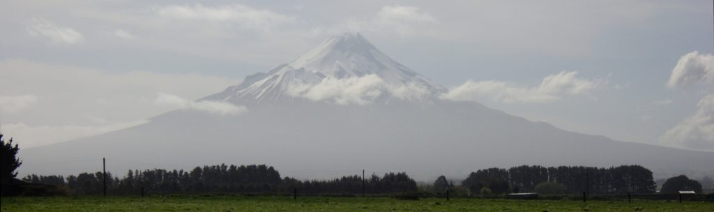 Mt Taranaki in the haze, the mountain fully visible but pale and with a few whispy clouds  below the peak. In front, trees and a slice of paddock.